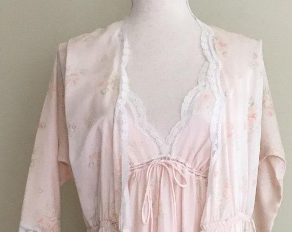 Christian Dior Nightwear Set Robe Nightgown Peignoir Long Floor Length Vintage Dusty Pink Floral Print Size S