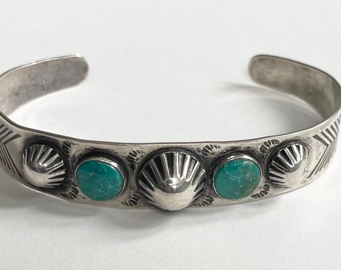 Repousse Turquoise Bracelet Cuff Fred Harvey Era Vintage Hand Stamped Native American Jewelry