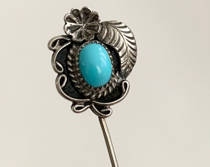 Navajo Turquoise Stick Pin Vintage Native American Brooch Hat Pin Decorative Leaf Flower Floral Sleeping Beauty Turquoise