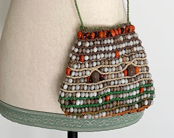 Wood Seed Beaded Purse Vintage 60s Boho Bohemian Festival Open Weave Cross Body Pouch Small Bag Orange White Green Beige Brown