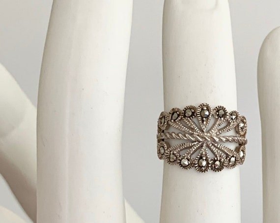 Sterling Silver Filagree Ring Vintage Very Fine and Delicate Silver Work Tiny Marcasite Crystal Stones Size 7