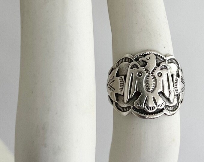 Sterling Silver Thunderbird Ring Fred Harvey Era Vintage Native American Navajo Wide Cigar Band Style Size 7.5