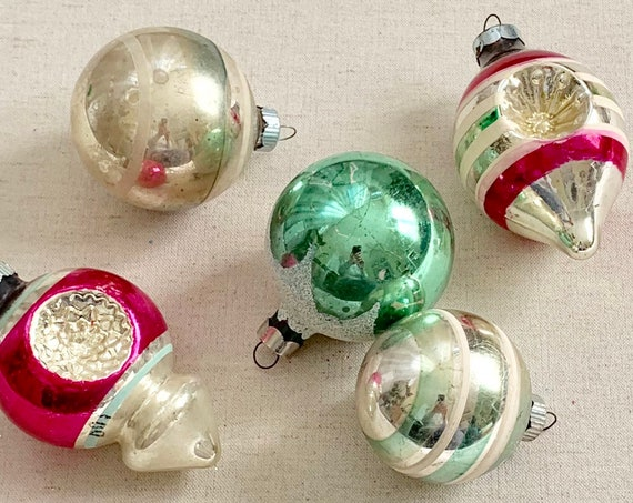 Shiny Brite Glass Ornaments Lot of 5 Indents Striped UFO Magenta Pink Green Silver White Glitter