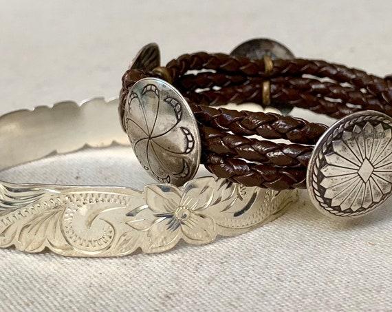 Native American Concho Bracelet Bangle Sterling Silver Vintage Tooled Design Bangle Leather Band