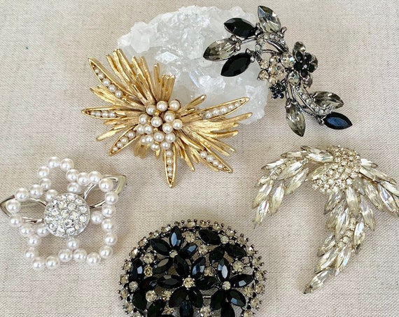 Crystal Rhinestone Brooch Pin Vintage Costume Jewelry Gold Silver Black Smoky Clear Pearl Wedding Bridal Jewelry Accessories