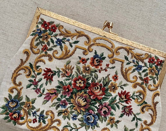 Needlepoint Convertible Purse Clutch Victorian Floral Rose Cross Stitch Gold Tone Frame Strap Made in Hong Kong