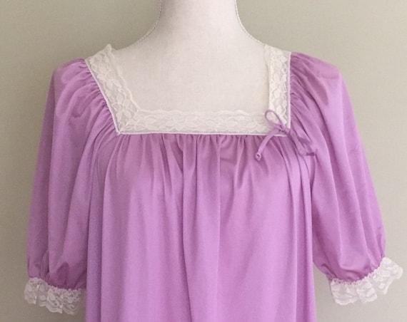 Diane Von Furstenberg Nightgown Vintage 70s Long Floor Length Lavender Nylon Size Small S