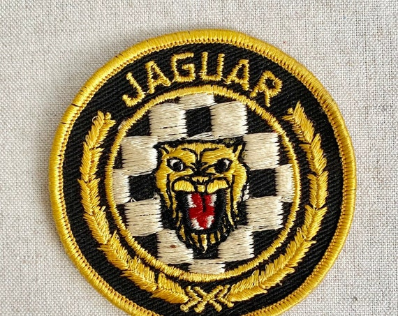 Jaguar Sew On Patch Vintage Black White Gold Decal Appliqué Embroidered Animal Denim Jean Patch Pin