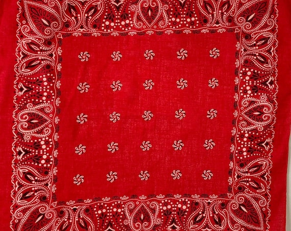 Fast Color Red Bandana Vintage 60s Lightweight All Cotton Paisley Cowboy Scarf Vintage RN 14193