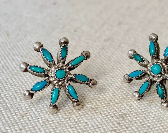 Zuni Needlepoint Turquoise Earrings Vintage Old Antique 40s Southwest Native American Sterling Silver