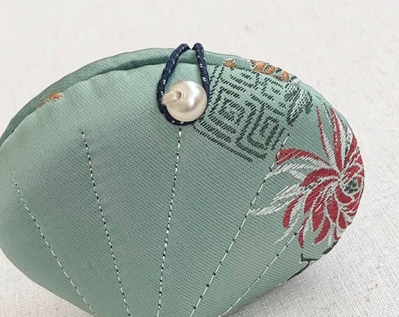 Travel Sewing Kit Chinese Floral Satin Fabric Pearl Button Pale Turquoise Pink White Flowers Clamshell Shape Small Packable Size