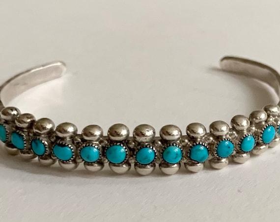 Zuni Turquoise Bracelet Cuff Vintage Native American Sterling Silver Snake Eye Petit Point Set Stones Large Ladies Men Wrist