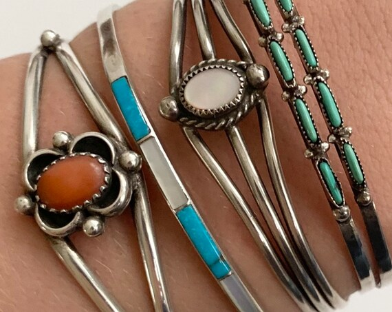 Dainty Native American Bracelet Cuff Vintage Navajo Zuni Artisan Made Thin Delicate Sterling Silver Turquoise Mother of Pearl