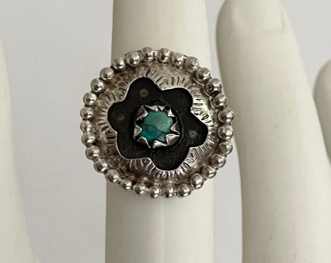 Unique Shadowbox Turquoise Ring Vintage Old Pawn Native American Navajo Large Round Circle Face Size 8.75
