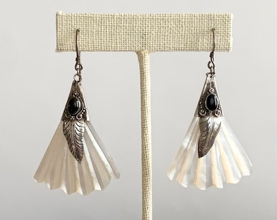 "Long Navajo Dangle Earrings Vintage Native American Carved Mother of Pearl MOP Sterling Silver Leaf with Black Onyx Inlay Long 2.25"" Drop"
