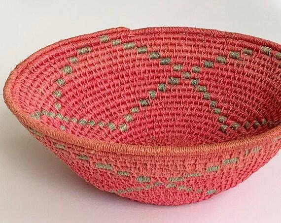 Faded Pink Southwest Basket Bowl Catchall Vintage Handwoven Coil Baskets Boho Home Decor