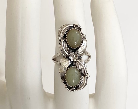 Exquisite Signed Navajo Ring Multi Two Stone Vintage Native American Sterling Silver Rare Milky Green Chalcedony or Jade Elongated Size 9.25