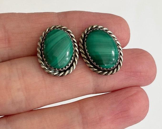 Navajo Malachite Earrings Sterling Silver Vintage Native American Artist Signed VK Stud Studs Green Stone Rope Border
