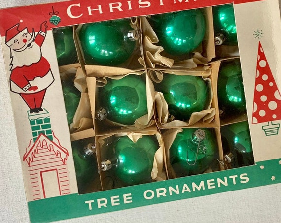 Poland Green Glass Ornaments Bulbs in Original Box of 12 Vintage Fantasia Brand Made in Poland Metal Tops