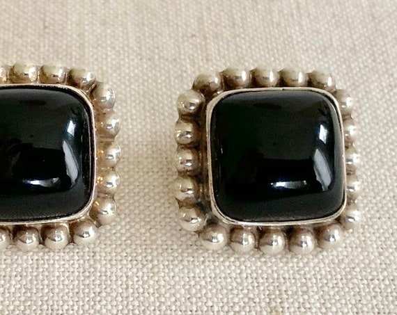 Mexican Sterling Silver Earrings Vintage Black Onyx Beaded Border Square Shape