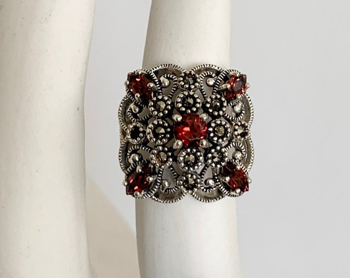 Sterling Silver Filagree Ring Vintage Very Fine and Delicate Silver Work Tiny Marcasite and Red Crystal Stones Size 6.25