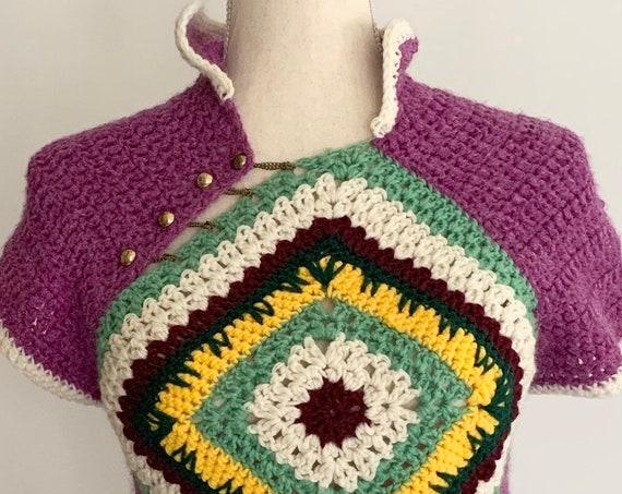 Hand Knit Crochet Sweater Top Handmade Vintage Boho Hippie Folk Style Purple White Green Open Knit Cap Sleeve Womens Sweaters XXS XS