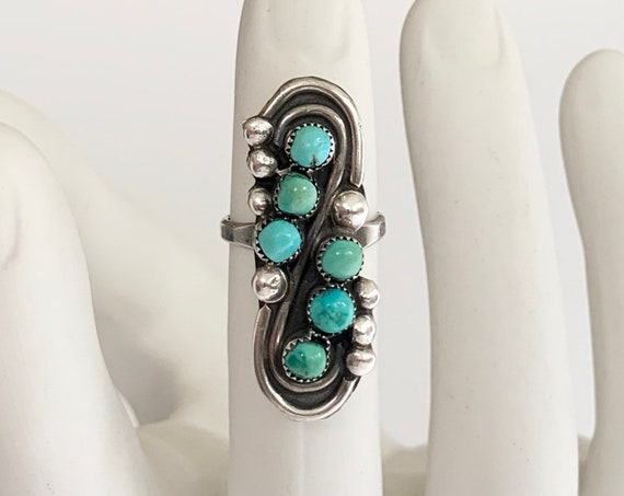 Long Turquoise Ring Vintage Sterling Silver Vintage Native American Multi Stone Petit Point Elongated Knuckle Ring Size 7.5 7.75