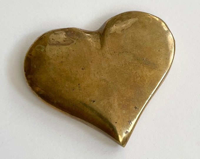 Tiny Vintage Brass Heart Figurine Valentines Gift Small Size Aged Worn Patina Solid Brass Anniversary Wedding Love