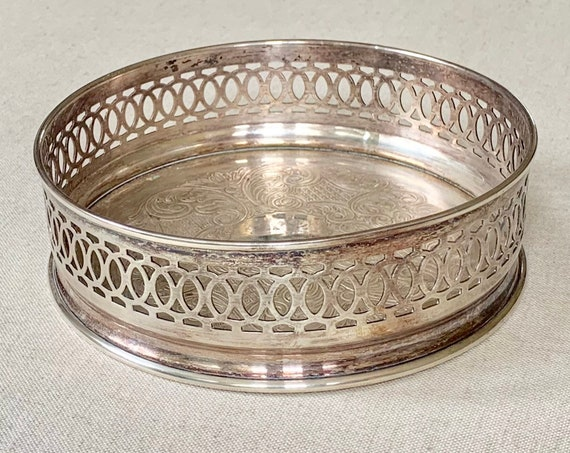 English Wine Coaster Trivet Silver Plate Vintage SG Made in England Dining Table Scape Wedding Bridal Shower Gift Something Old