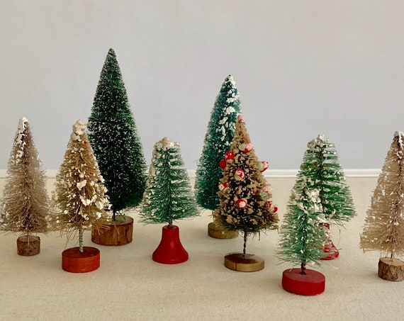 Bottle Brush Tree Lot of 9 Tiny Miniature Mini Vintage Christmas Holiday Decor Christmas Tree with Flocking Flocked