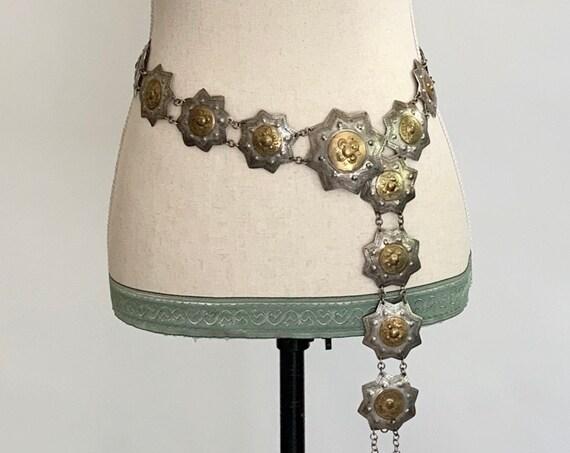 Concho Chain Link Belt Vintage Adjustable Length Ethnic Boho Belts Brass Silver Tone Star Geometric Disc Conchas