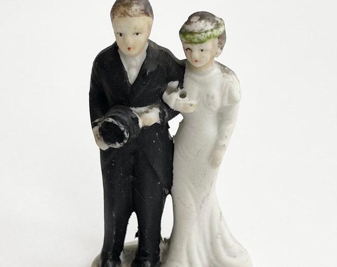 Vintage Wedding Cake Topper Bride and Groom Porcelain Ceramic Antique Retro Wedding Made in Japan