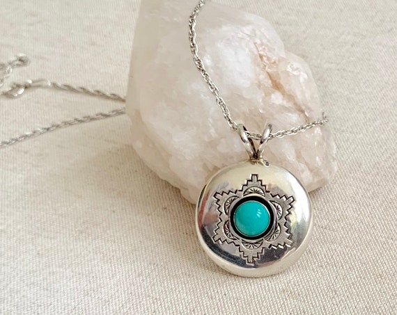 "Navajo Turquoise Pendant Necklace Vintage Native American Sterling Silver Shadowbox 20"" Artist Signed P"
