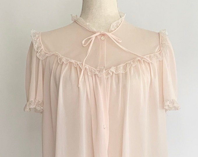 Dusty Pink Dressing Gown Nightgown Nightie Romantic Vintage 50s Pale Baby Powder Pink Soft Semi Sheer Nylon Button Front Lace Trim Size XS