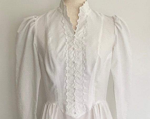 White Prairie Dress Victorian Style Vintage 70s Puff Sleeves Corset Top Lace Trim High Edwardian Neck Maxi Floor Length Boho Hippie XS S
