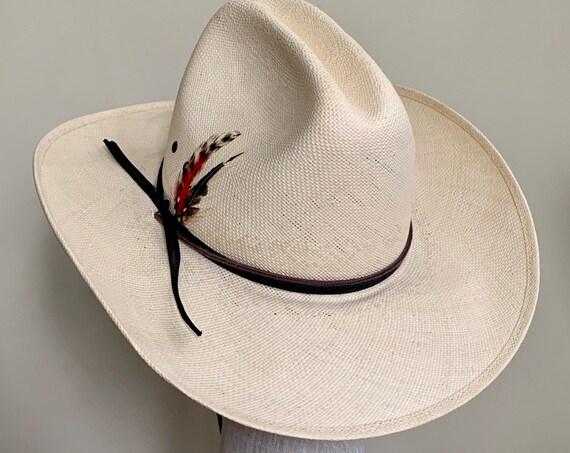 Resistol Shantung Cowboy Hat Vintage Bradford Western by Resistol Cream Beige Genuine Shantung Feather Detail Mens Women's Hats