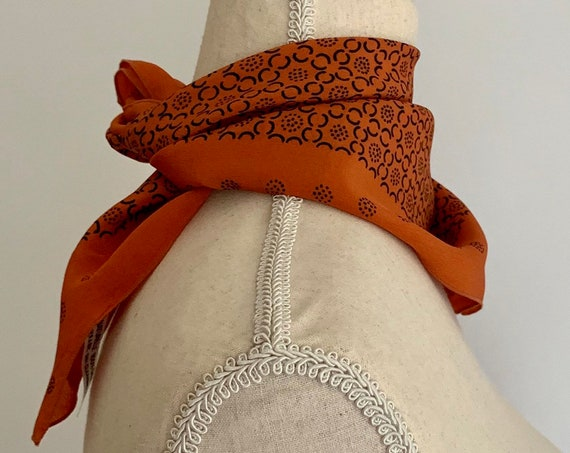 Pierre Cardin Silk Scarf Paris Carre Square Vintage Made in France with Original Label Burnt Orange