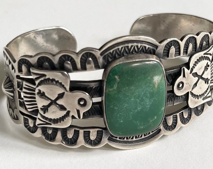 Wide Green Turquoise Cuff Fred Harvey Era Vintage Navajo Heavily Stamped Band Thunderbird Applique