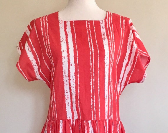 Short Red Dress Romper Vintage 80s Lightweight Fabric Tomato Red and White Spring Summer Made in USA XS