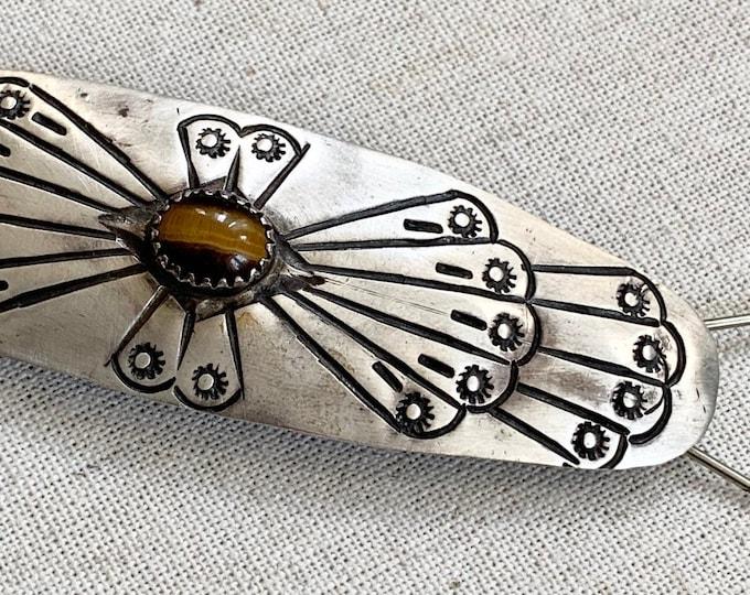 Native American Barrette Sterling Silver Stamp Work Tiger's Eye Gemstone Vintage Navajo Hair Clip Accessories Artist Signed DMS