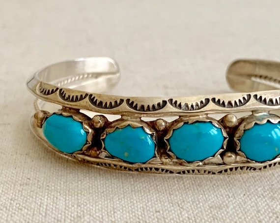 Navajo Turquoise Bracelet Cuff Vintage Native American Sterling Silver Turquoise Jewelry Artist Signed D