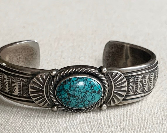 Mens Turquoise Bracelet Cuff Eugene Hale Artist Signed E Hale Vintage Native American Navajo Solid and Heavy 78g Sterling Silver