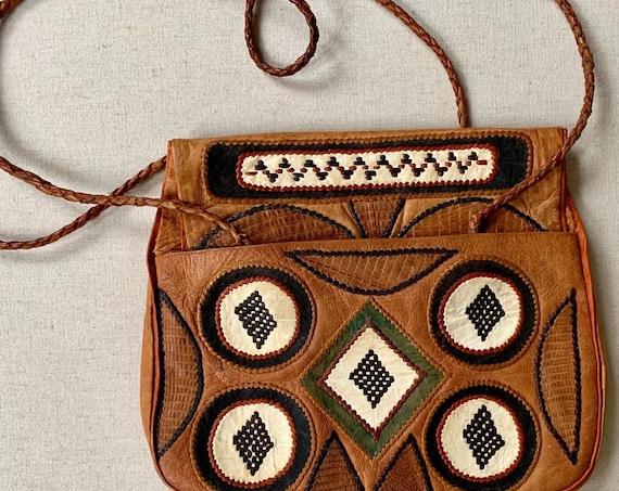 70s Leather Applique Purse Handbag Vintage Leather Goods Stitched Applique Details Braided Straps