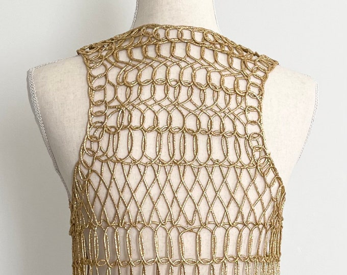 Mod Gold Lurex Vest Open Knit Open Net Weave Vintage 60s Long Tunic Length Rock Disco Style