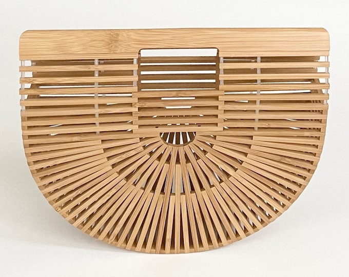 Half Moon Bamboo Purse Handbag Vintage Wood Open Weave Sculptural Minimalist Boho Handbag Semi Circle