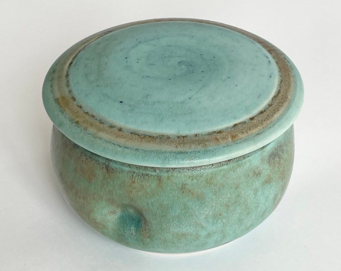Aqua Blue Pottery Pot Bowl with Lid Handmade Studio Ceramic Art Glazed Round Box Light Turquoise Brown Beige Artist Signed Neff