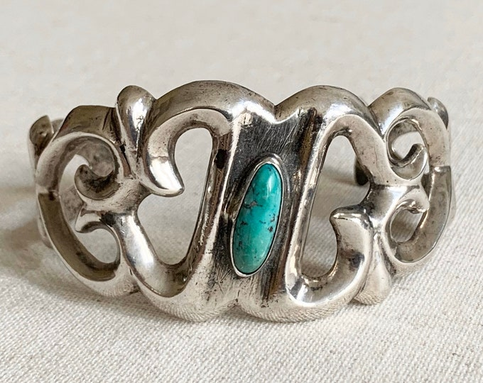 Cast Sterling Silver Cuff Bracelet Southwest Native American Sand Cast Open Wide Ornate Band Oval Turquoise Stone Artist Signed Heavy 53g