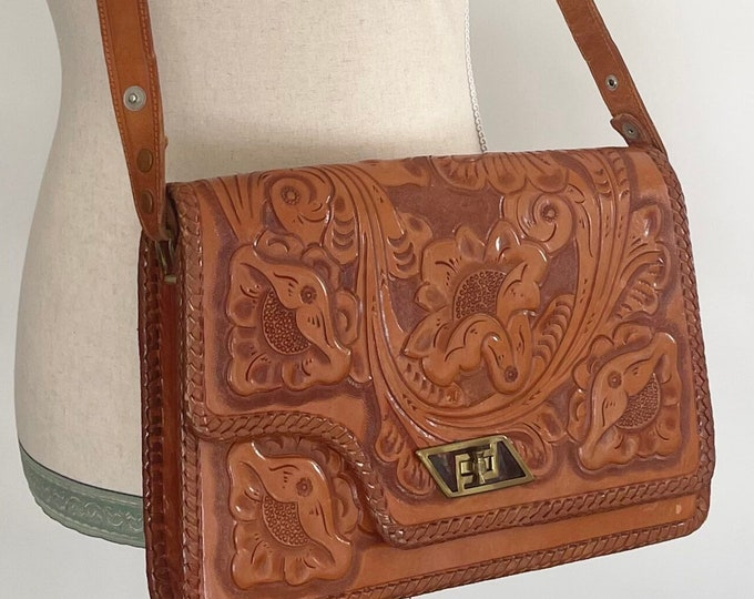 Floral Tooled Leather Purse Crossbody Shoulder Bag Made in Mexico Vintage 60s 70s Western Boho Mexican Leather Goods