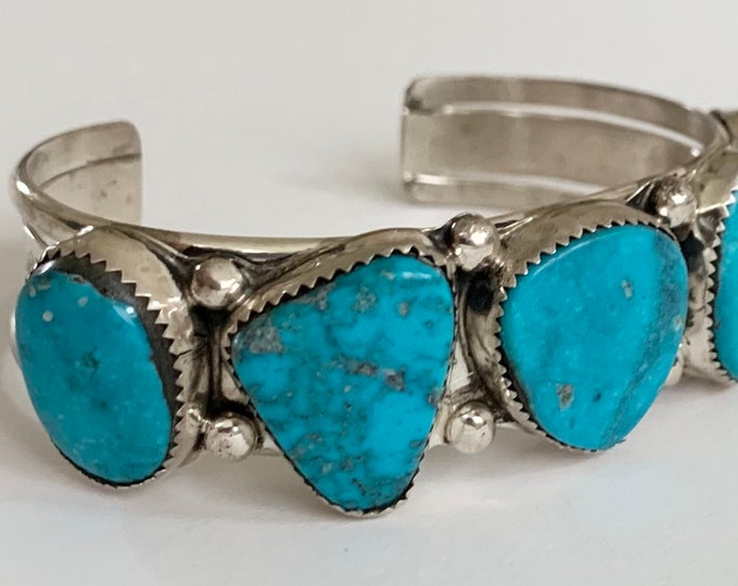 Wide Navajo Turquoise Cuff Bracelet Vintage Native American Navajo Sterling Silver Turquoise Large Turquoise Stones Heavy 47g