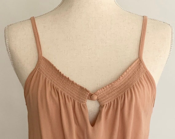 70s Nude Dress Spaghetti Straps Sleeveless Sun Dress Vintage Buff Blush Beige Size XS
